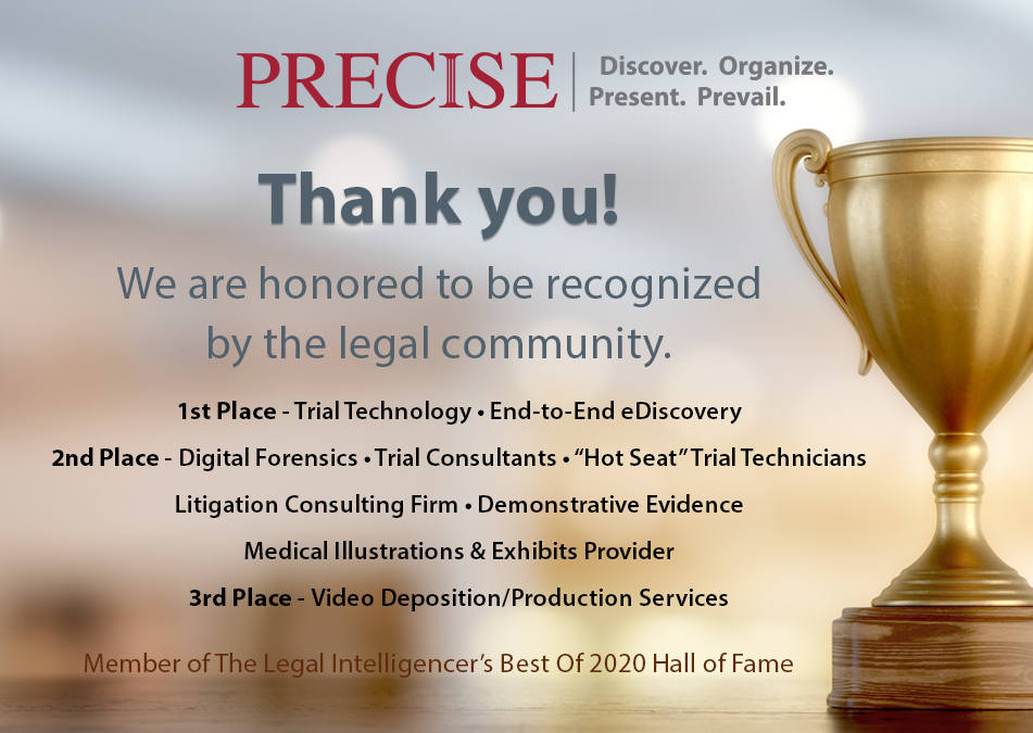 Precise Recognized as Number One Trial Technology and eDiscovery Provider in Pennsylvania Survey